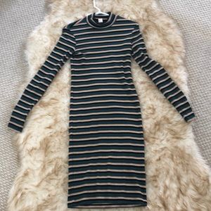 H&M Striped Retro Fitted Dress Size 8